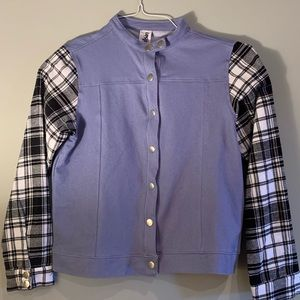 Weissman Plaid Denim Hip Hop Jacket /Costume